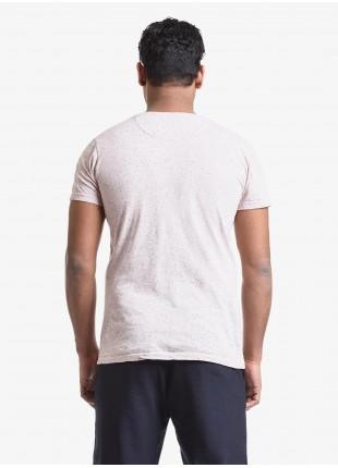 T-shirt uomo John Barritt, vestibilita slim, girocollo, manica corta, taschino sul petto. Tessuto in cotone bottonato, colore rosa. Composizione 100% cotone. Rosa