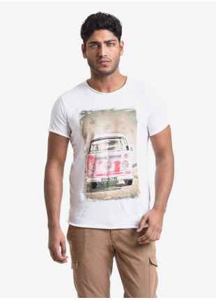 T-shirt uomo John Barritt, vestibilita slim, girocollo, manica corta. Tessuto in cotone fiammato con stampa e dettagli dipinti a mano. Colore bianco. Composizione 100% cotone. White
