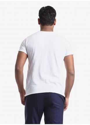 T-shirt uomo John Barritt, vestibilita slim, girocollo, manica corta. Tessuto in cotone fiammato con stampa. Colore bianco. Composizione 100% cotone. White