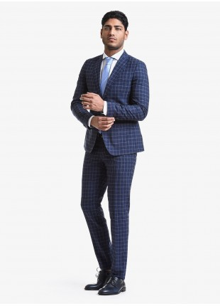 John Barritt spring-summer man suit, slim fit, two buttons, double vent and amf. Lenght jacket 72 cm. Mixed wool fabric with check design. Composition 98% wool 2% polyester. Blue