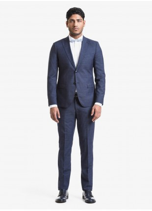 John Barritt spring-summer man suit, slim fit, two buttons, double vent and amf. Lenght jacket 72 cm. Mixed wool fabric. Composition 70% wool 30% polyester. Blue