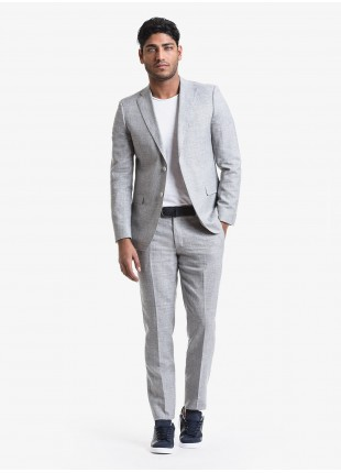 John Barritt spring-summer man suit, regular fit, two buttons, double vent and amf. Lenght jacket 74 cm. Wool/linen fabric. Composition 58% wool 42% linen. Light Grey Melange