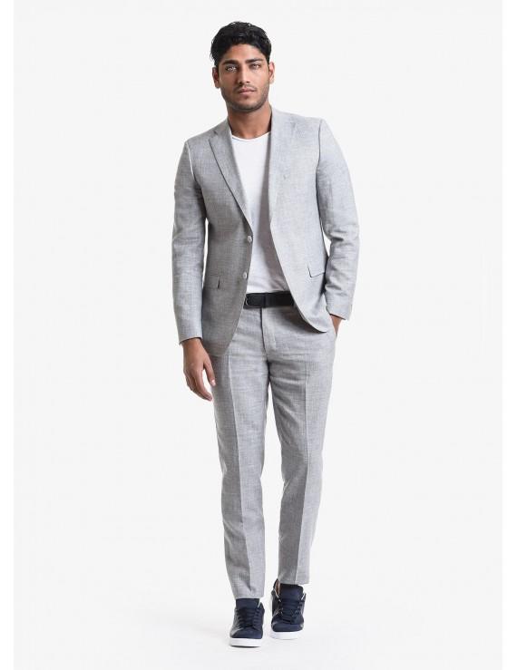 John Barritt spring-summer man suit, regular fit, two buttons, double vent and amf. Lenght jacket 74 cm. Wool/linen fabric. Composition 58% wool 42% linen. Light Grey Melange