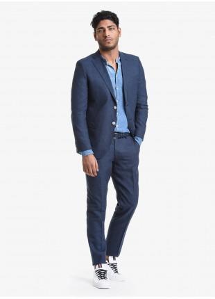 Abito uomo primavera-estate John Barritt vestibilita regular, due bottoni, due spacchi e amf. Lunghezza giacca 74 cm. Tessuto in lana/lino. Composizione 58% lana 42% lino. Blue