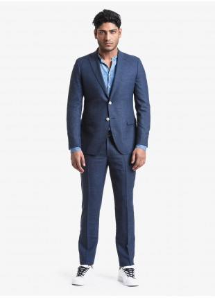 John Barritt spring-summer man suit, regular fit, two buttons, double vent and amf. Lenght jacket 74 cm. Wool/linen fabric. Composition 58% wool 42% linen. Blue