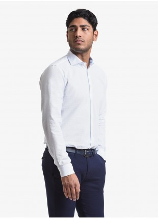John Barritt man shirt, slim fit, cotton fabric with micro design, half french collar, color white. Composition 100% cotton. White