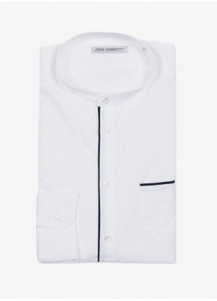 John Barritt man shirt, slim fit, cotton fabric with micro design, korean collar. Color white and contrast piping color blue. Composition 100% cotton. White
