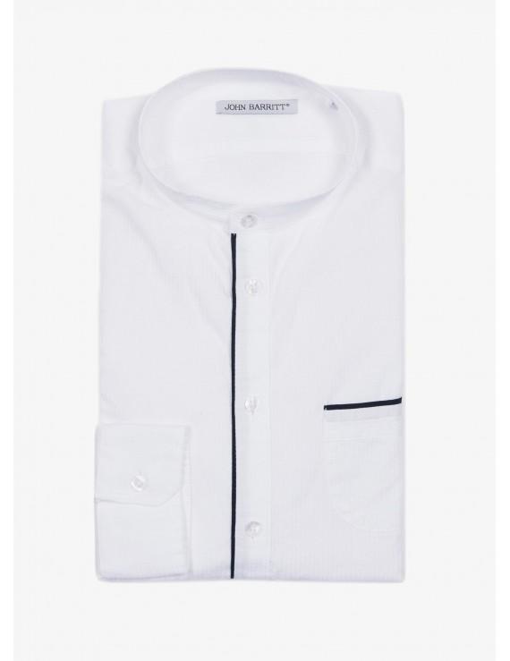 1caf64dbdb Camicia uomo John Barritt, vestibilita slim, in cotone operato, collo alla  coreana. Colore bianco e piping a contrasto blu. Composizione 100% cotone.  ...