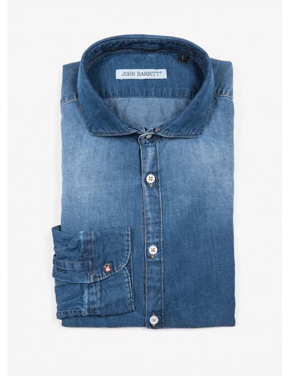 John Barritt man shirt, slim fit, in light cotton denim fabric, half french collar. Color medium blue jeans. Composition 100% cotton. Blue