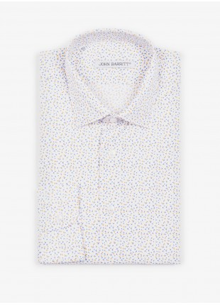 John Barritt man shirt, slim fit, stretch cotton fabric with micro flower print, half french collar. Color white/yellow. Composition 100% cotton. White