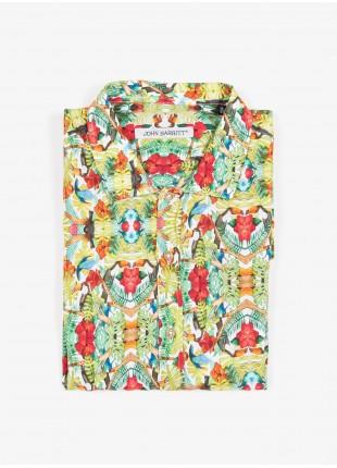 Camicia uomo John Barritt, vestibilita ampia, modello con collo a bowling, manica corta, tessuto in viscosa con stampa tropicale a fiori. Composizione 100% viscosa. Verde Chiaro