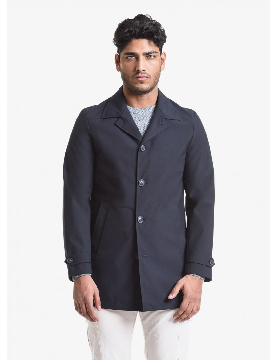 John Barritt man trench, slim fit, without lining, welt pockets and loops on sleeves. Technical fabric with contrast color inside. Composition 58% polyester 28% viscose 14% polyurethane. Blue