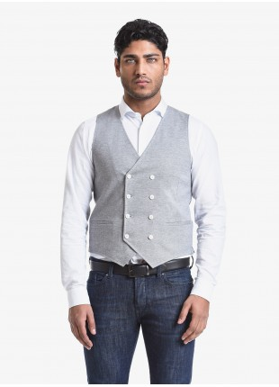 John Barritt man double breast vest, slim fit, welt pockets. Jersey fabric, color light grey. Composition 100% cotton. Light Grey Melange