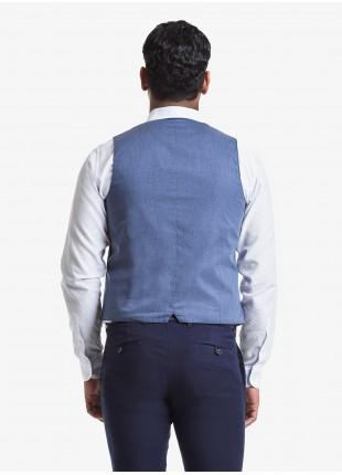 Gilet uomo John Barritt, vestibilita slim, tasche a pattina. Tessuto in jersey con fantasia a righe, colore blu. Composizione 100% cotone.         Blue