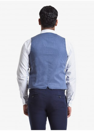 John Barritt man vest, slim fit, small flap pockets. Jersey fabric with striped pattern, color blue. Composition 100% cotton. Blue
