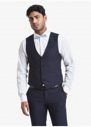 John Barritt man vest, slim fit, polyester/viscose fabric with micro design. Composition 76% polyester 22% viscose 2% elastane. Blue