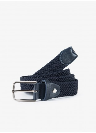 John Barritt man belt, adjustable, height 3 cm, in elastic material color blue. Satin nikel metal buckle. Composition Viscose/Elastane. Blue