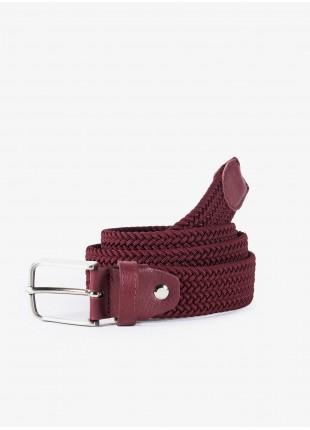 John Barritt man belt, adjustable, height 3 cm, in elastic material color bordeaux. Satin nikel metal buckle. Composition Viscose/Elastane. Bordeaux