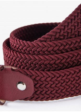 John Barritt man belt, adjustable, height 3 cm, in elastic material color bordeaux. Satin nikel metal buckle. Composition Viscose/Elastane. Bordeaux