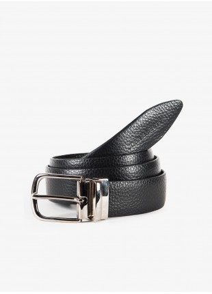John Barritt man belt, adjustable, height 3,5 cm, double-face belt in hammered leather, color black/brown. Shiny nikel metal buckle. Composition 100% lamb leather. Nero