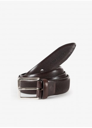 John Barritt man belt, adjustable, height 3,5 cm, in printed leather color brown. Old silver metal buckle. Composition 100% lamb leather. Light Brown