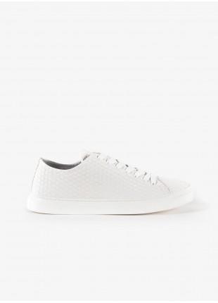 Sneakers uomo John Barritt, in pelle stampata con motivo a intreccio, colore bianco. Suola in gomma. Composizione 100% pelle. White