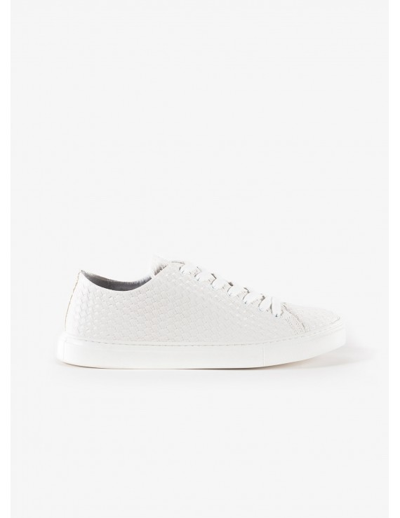 John Barritt man sneakers, in printed leather with braid design, color white. Rubber sole. Composition 100% lamb leather. White
