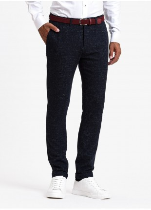 John Barritt man chinos, slim fit, mixed wool fabric, color blue. Composition 62% wool 17% polyamide 13% polyester 6% viscose 2% other fibers. Blue