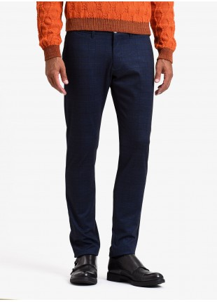 John Barritt man chinos, slim fit, jersey fabric with printed check design. Color blue. Composition 60% polyester 35% viscose 5% elastane. Blue