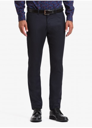John Barritt man chinos, slim fit, poly/viscose stretch fabric. Color blue. Composition 75% polyester 23% viscose 2% elastane. Blue