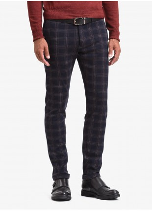 John Barritt man chinos, slim fit, jersey fabric with check design. Color blue. Composition 100% cotton. Blue