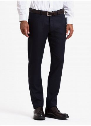 John Barritt man tailored trousers, slim fit, mixed wool fabric. Color blue. Composition 70% wool 30% polyester. Blue