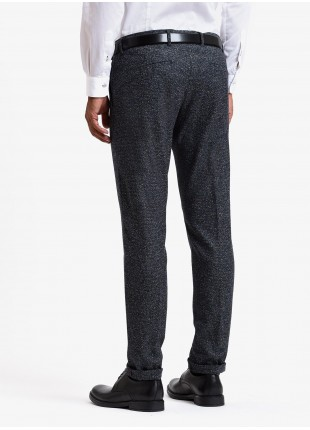 John Barritt man tailored trousers, slim fit, mixed wool fabric with colored neps. Color blue. Composition 70% virgin wool 22% viscose 8% polyamide. Blue