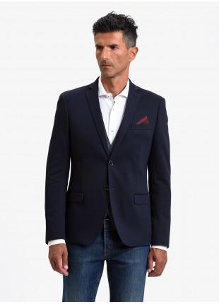 Giacca uomo John Barritt, vestibilita slim, foderata, due bottoni, doppio spacco, tasche a pattina, pochette e amf. Tessuto in jersey. Colore blu. Composizione 100% cotone. Blue