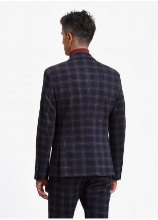 Giacca uomo John Barritt, vestibilita slim, foderata, due bottoni, doppio spacco, tasche a pattina, pochette e amf. Tessuto in jersey con fantasia a quadri. Colore blu. Composizione 100% cotone. Blue