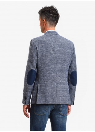 John Barritt man jacket, slim fit, full body lining, two buttons, double vent, flap pockets, amf and alcantara patches on contrast. Wool/linen fabric. Color light blue. Composition 46% wool 38% linen 16% polyester. Bluette