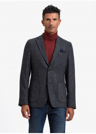 John Barritt man jacket, slim fit, half body lining, two buttons, double vent, patch pockets, pochette. Mixed wool fabric with colored neps. Color blue. Composition 70% virgin wool 22% viscose 8% polyamide. Blue