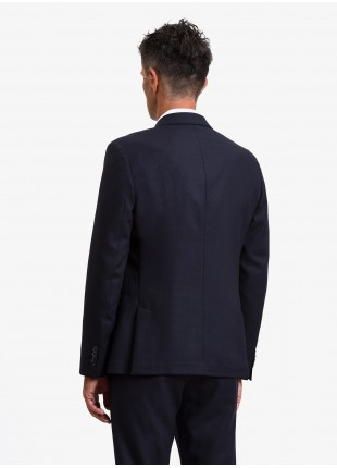 John Barritt man jacket, regular fit, half body lining, two buttons, double vent, flap pockets, pochette and amf. Mixed wool fabric. Color blue. Composition 70% wool 30% polyester. Blue