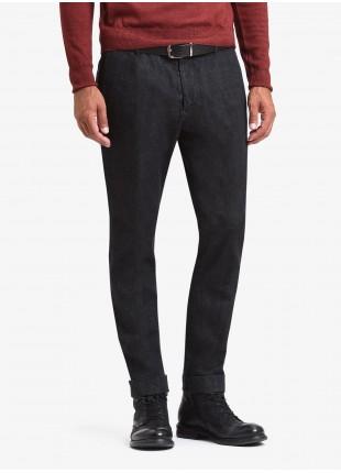 John Barritt man chinos, slim fit, stretch denim fabric. Color black. Composition 98% cotton 2% elastane. Nero