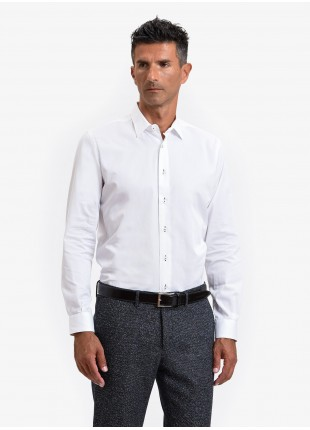 John Barritt man shirt, slim fit, twill cotton fabric with contrast eyelets, half french collar, color white. Composition 100% cotton. White