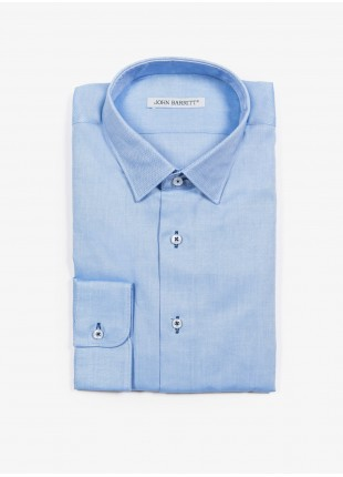 John Barritt man shirt, slim fit, twill cotton fabric with contrast eyelets, half french collar, color light blue. Composition 100% cotton. Blue Paper From Sugar