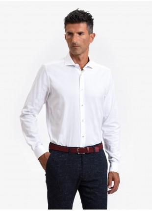 John Barritt man shirt, slim fit, cotton fabric with micro design, half french collar, color white. Composition 97% cotton 3% elastane. White