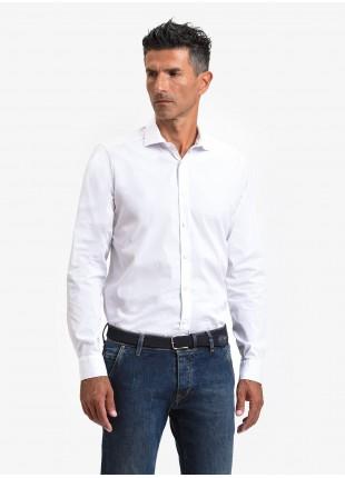John Barritt man shirt, slim fit, cotton poplin stretch fabric, half french collar, color white. Composition 97% cotton 3% elastane. White