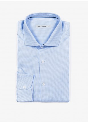 John Barritt man shirt, slim fit, cotton fabric with micro design, half french collar, color light blue. Composition 100% cotton. Blue Paper From Sugar