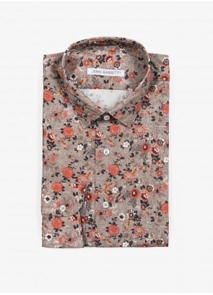 Camicia uomo John Barritt, vestibilita slim, in cotone stampato con fantasia a fiori, collo mezzo francese, colore beige. Composizione 100% cotone.  Beige Medio
