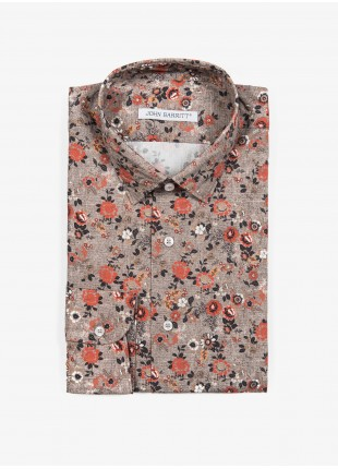 John Barritt man shirt, slim fit, printed cotton fabric with floral print, half french collar, color beige. Composition 100% cotton. Medium Beige