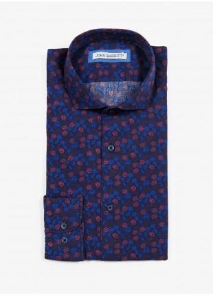 Camicia uomo John Barritt, vestibilita slim, in cotone stampato con fantasia a fiori, collo mezzo francese, colore blu/bordeaux. Composizione 100% cotone.  Blue
