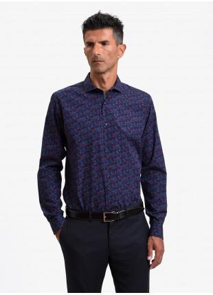John Barritt man shirt, slim fit, printed cotton fabric with floral print, half french collar, color blue/bordeaux. Composition 100% cotton. Blue