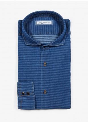 Camicia uomo John Barritt, vestibilita slim, in cotone denim con motivo a righe orizzontali, collo mezzo francese, colore blu. Composizione 100% cotone. Blue