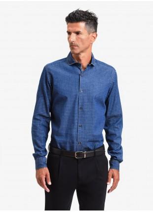 John Barritt man shirt, slim fit, denim cotton fabric with horizontal stripes, half french collar, color blue. Composition 100% cotton. Blue